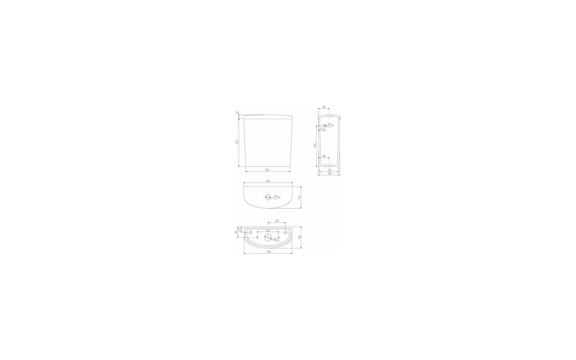 Spłuczka owalna do WC dla seniora - rysunek.