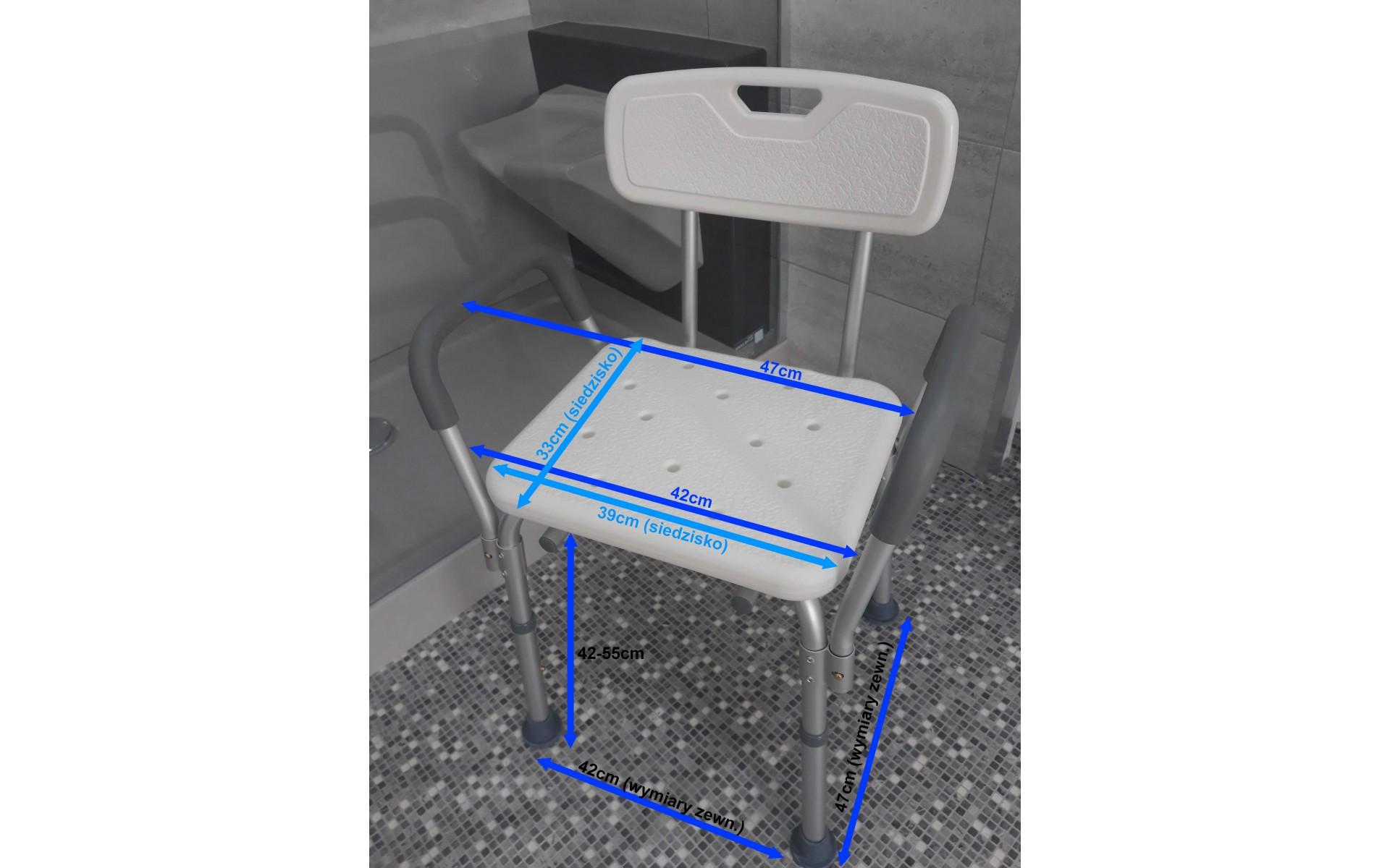 Krzesło prysznicowo-łazienkowe - wymiary.
