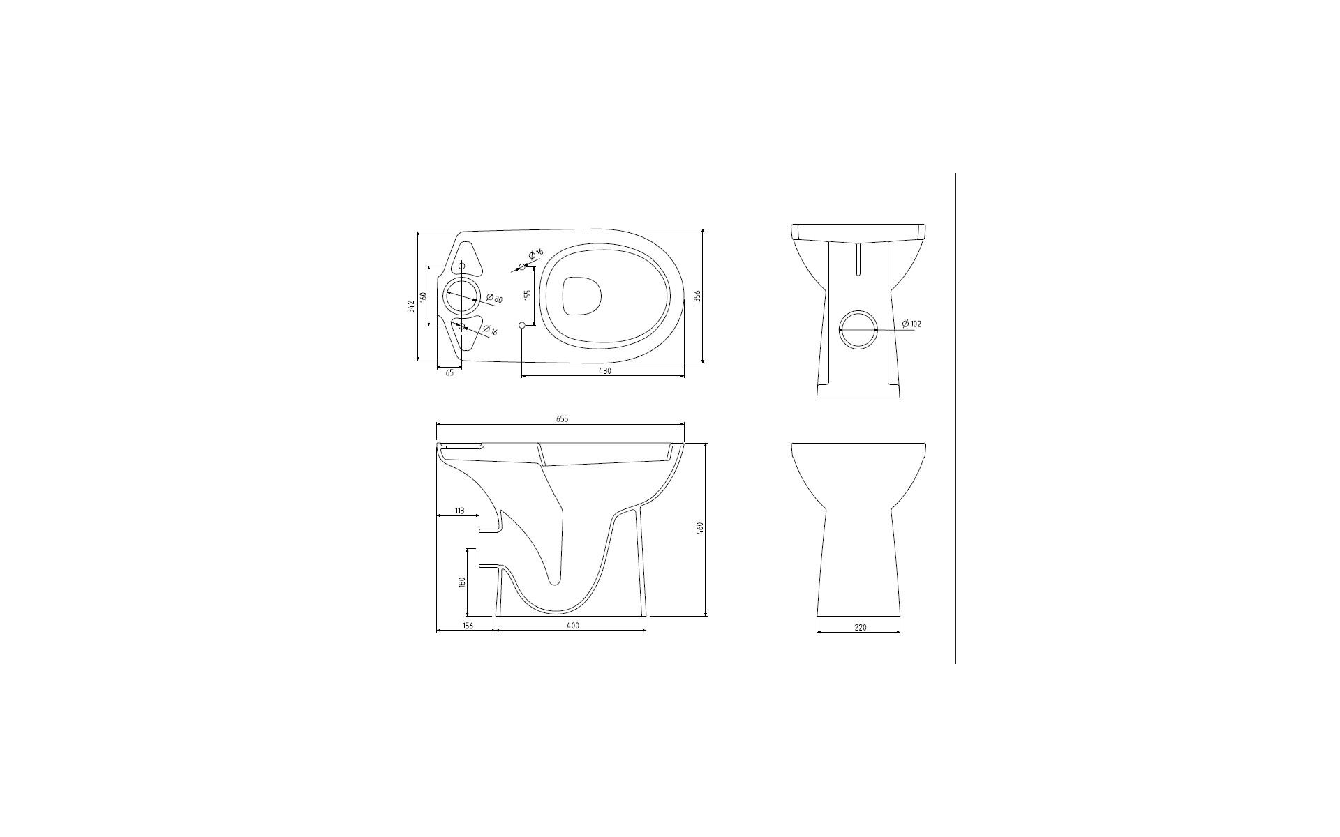 WC dla niepełnosprawnych KOŁO  - rysunek techniczny.