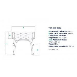 Rysunek techniczny - taboret rehabilitacyjny do 136 kg.