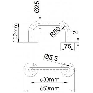 Uchwyt prosty 60cm - rysunek techniczny.