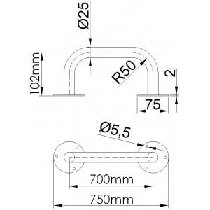 Uchwyt prosty 70cm - rysunek techniczny.