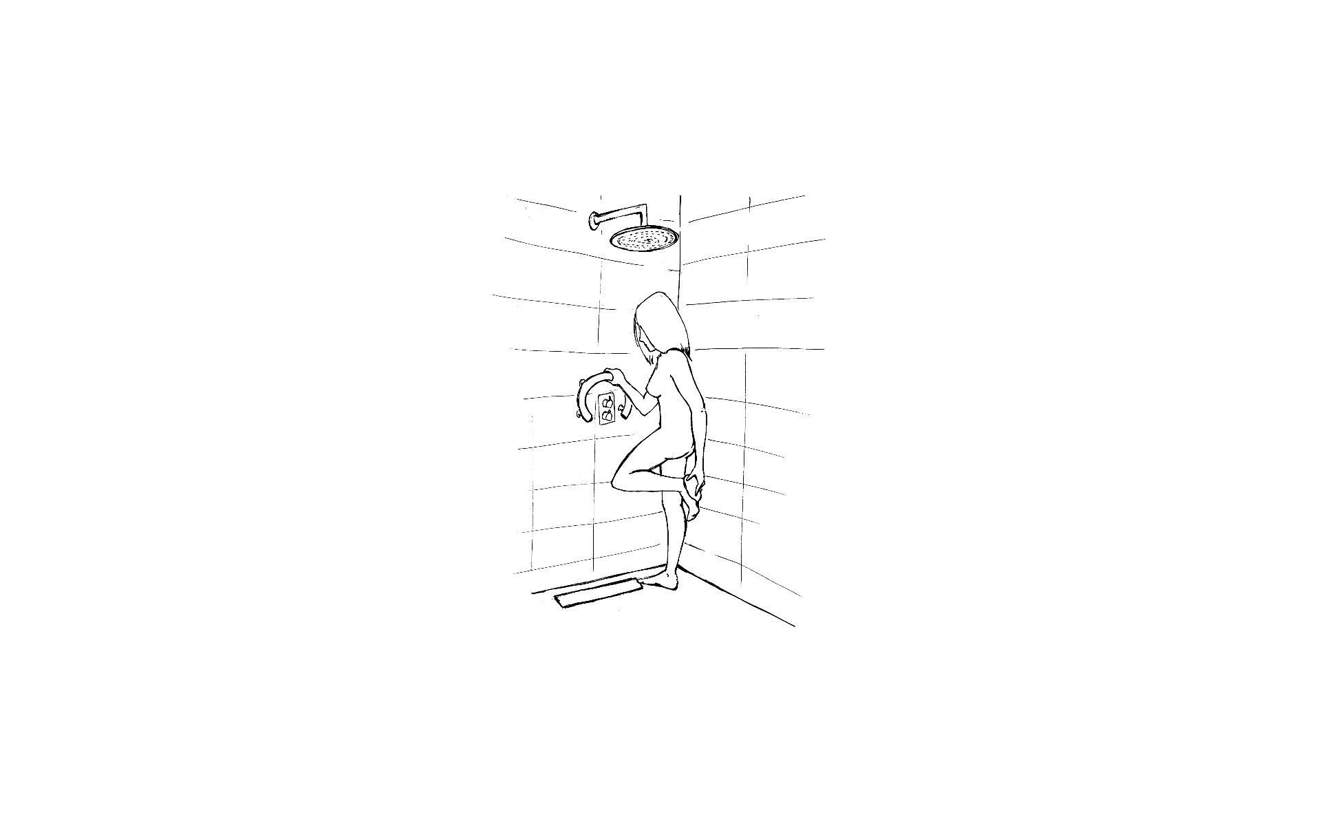Uchwyt pod prysznic dla osoby starszej lub niepełnosprawnej.