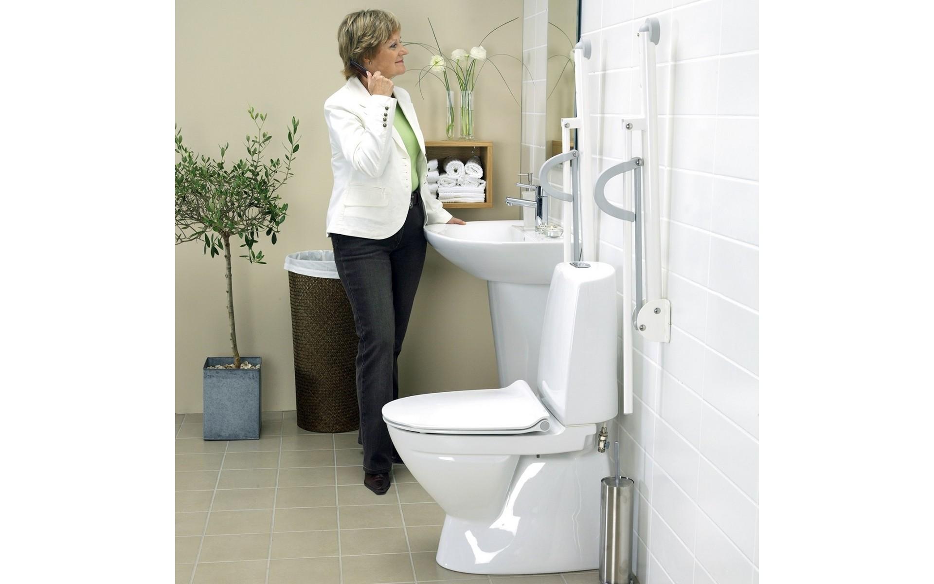 Poręcze do toalety dla niepełnosprawnych.