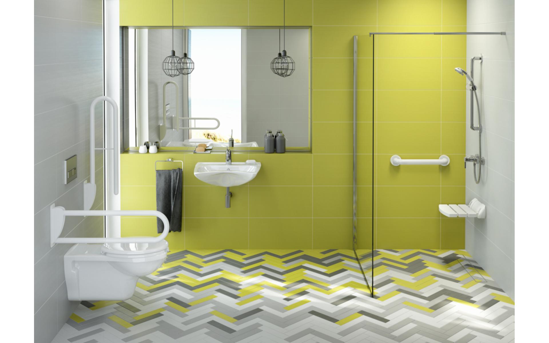 Poręcz pod prysznic dla seniora zintegrowana z zestawem natryskowym Deante Vital.